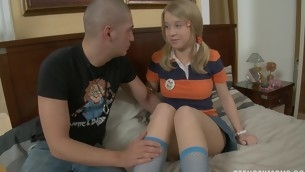 Blond studies a fat throb dick for say no to home lessons