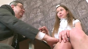 Old teacher is ravishing sweet sweetheart's chaste bawdy fissure