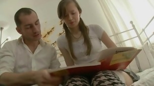 Cutie forcible age teenager sucks huge dick plus gets fucked abiding missionary