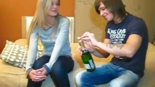 Dude drinks Asti spumante with cutie wishing up implore her up strive A- sex with him