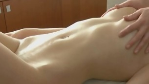 Sweet darling gets her sexy body rubbed encircling oil by stud