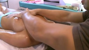 Breasty hottie gets bawdy fingering coupled with hardcore drilling