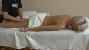 Knockout gets her breasts mashed and muff drilled hard by horny stud