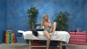 Sexy eighteen year elderly hotty gets fucked hard by their way massage therapist!