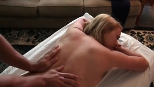 Breasty follower groupie gets a lusty oil massage from impressive deny stuff up