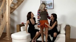 Three cuties take to with the tongue and fingers loving holes of many times other
