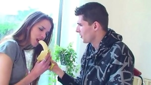 Cute amateur teen upon perky chest fucks a huge white cock