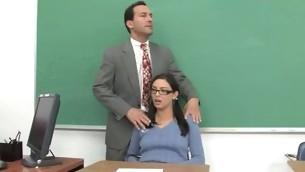 Shapely schoolgirl meeting her first big mature flannel