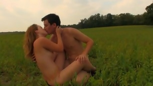 Check out of doors the incredible sex with a golden-haired on a spacious field