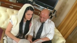 Sweet darling is receiving horny lessons from old teacher
