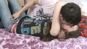 Sexy darling is being drilled moronic by striking stud