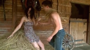 Nasty legal age teenager pair is having sizzling sexy sex to render unnecessary the haystack