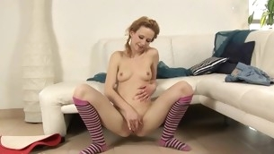 Hottie is experiencing heavenly pleasures with vibrator performance