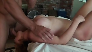 Sweetheart is bellyaching cramp wildly as A horny dude permeates her deeply