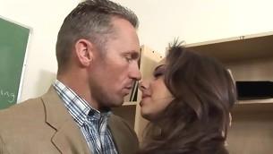 Farcical schoolgirl serves a pulsating schlong of a older lady's man