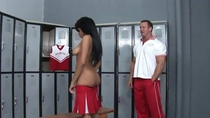 Kinky instructor examines gal