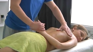 Sweet little one gets lusty poundings after having massage