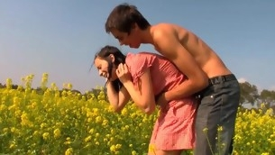 Sultry and uncompromisingly horrific dark murk gladly copulates on a flower field