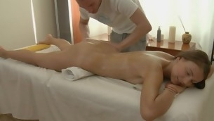 Charming masseur is plowing interesting playgirl's cunt wildly
