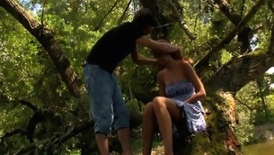 Wide forest vasts are used for a in force stage teenager sex with a filthy blond
