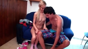 Horny golden-haired in pink socks is having stunning sex indoors