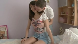 Marketable lover is seducing bird all over face sitting and riding