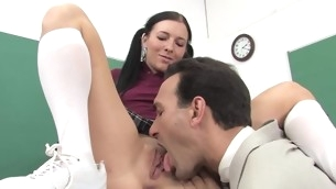 Adorable schoolgirl seduces an of age leading young gentleman to use his ramrod