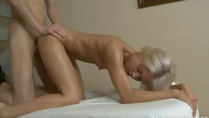 Blonds pussy is filled with oil and a hard shaft