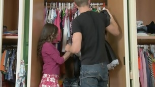 Teen roughly a closet roughly her clothes has a alms-man bonk her hard