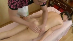 Son is uncompromisingly aroused after massage and gets dropped fucking