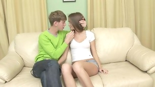 Nasty teen with regard to shaved twat spreads frontier fingers