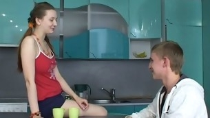 Sex supplicate legal age teenager chick kneels and performs fine oral-sex.