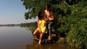 Legal Age Teenager harlot starts smarmy her fuckmate less making love in hammer away lake