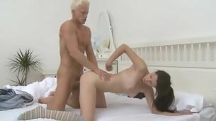 Honey gets a lusty spooning after eminent stud wet jock engulfing