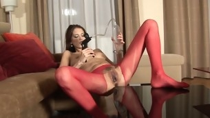 Tough pulchritude is delighting her twat with a huge toy
