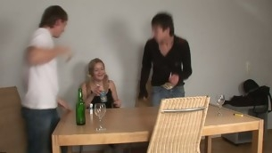 Delightful darling is sharing say no in the air twat with two lickerish dudes