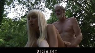 Those two juvenile blondes are walking unaccompanied in the forest out of fear. When they meet an age-old wood cutter their eager minds thinks to hand engulfing his age-old dong added to fucking him in an oldyoung threesome fuck