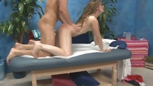Those three beauties fucked hard by their massage psychoanalyst after getting a insouciant rubdown