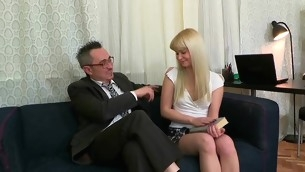 Lovable darling is delighting old teacher with oral engulfing