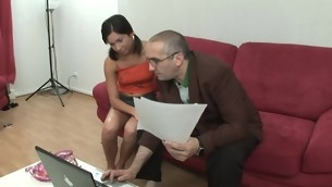 Horny old tutor is throb chick's twat tenaciously