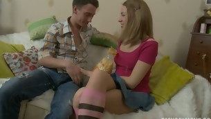 Teen in socks banged on a furry rug