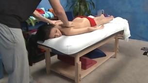 Hawt and sexy golden-haired eighteen year old gets fucked hard foreigner behind by her massage psychologist