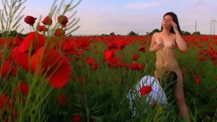 Legal Age Teenagers strip on a wide flower field to make extensively and be crazy