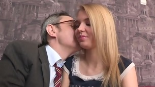 Old cram is ravishing sweet sweetheart's chaste vagina
