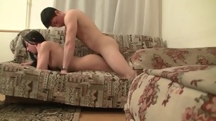 Seductive brunette crawl starts wild sex with their way fuckmate on the couch