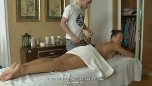 Youthful girl rides on stud's lengthy penis after hawt massage
